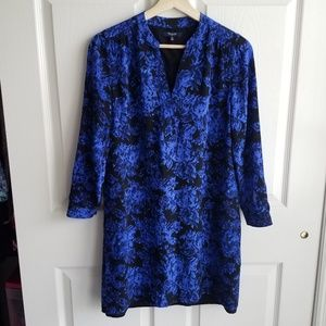 Madewell Dresses - Madewell Blue Silk Director Shift Dress Size XS